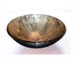 Picture of Gold and Black Glass Vessel Sink