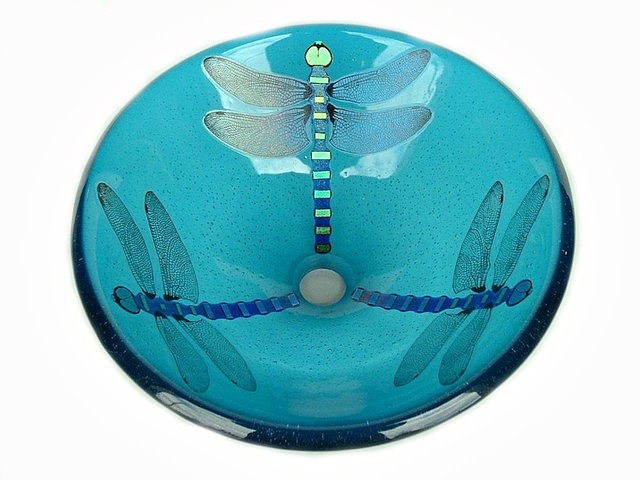 Picture of Aqua Blue Dragonfly Vessel Sink