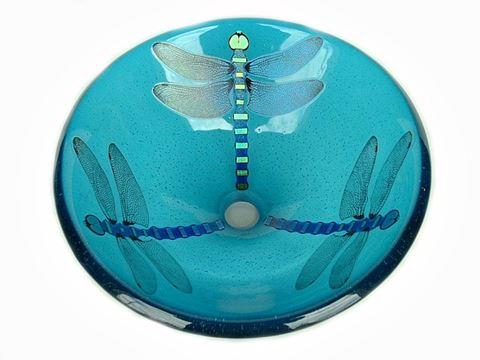 Aqua Blue Dragonfly Vessel Sink