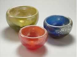 Picture of Blown Glass Double Wall Bowls - Silver Leaf