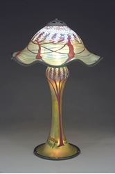 Picture of Magnum Gold Cherry Blossom Table Lamp With Ruffled Shade