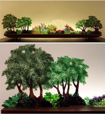 Perennial Hush Glasscape Lighting Sculpture