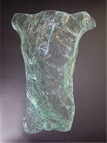 Eager Glass Male Torso Sculpture