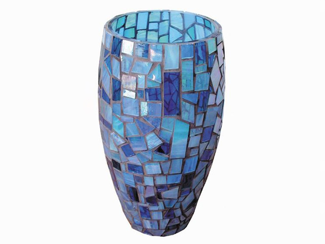 Picture of Blue Sky Handcrafted Glass Mosaic Vase