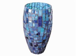Blue Sky Handcrafted Glass Mosaic Vase