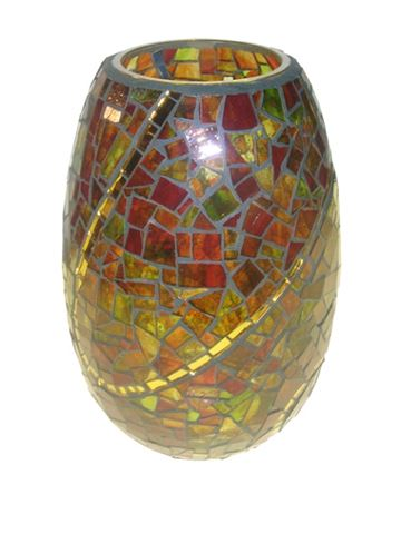 Gold Swirl Handcrafted Glass Mosaic Vase