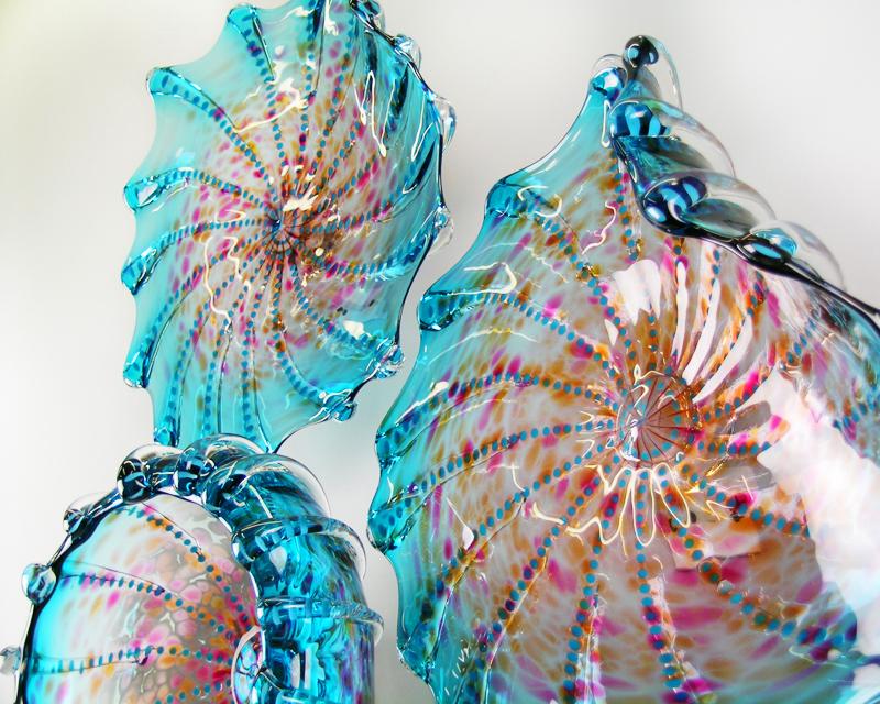 Picture of Aquatic Blue Green Lustre Blown Glass Platters Wall Sculpture