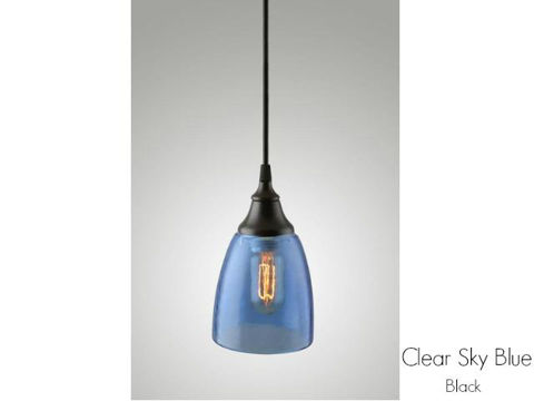 Clear Glass Pendant Light in Sky Blue