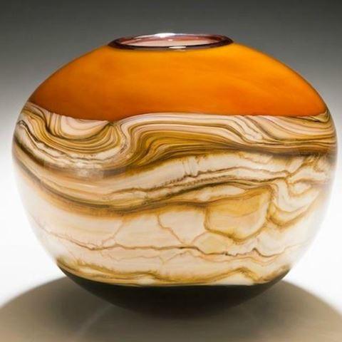 Blown Glass Vase | Tangerine Round Strata