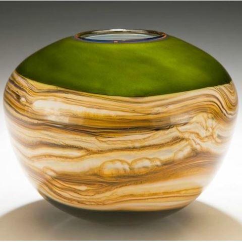 Blown Glass Vase   Lime Round Strata