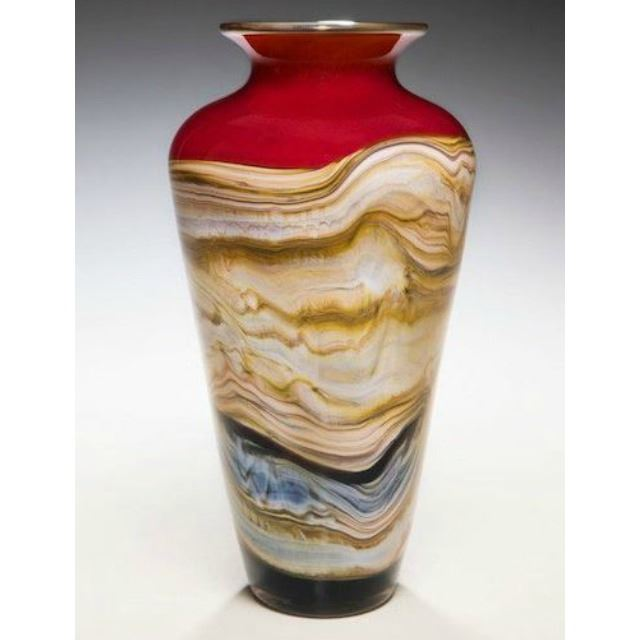 Picture of Blown Glass Vase | Ruby Strata