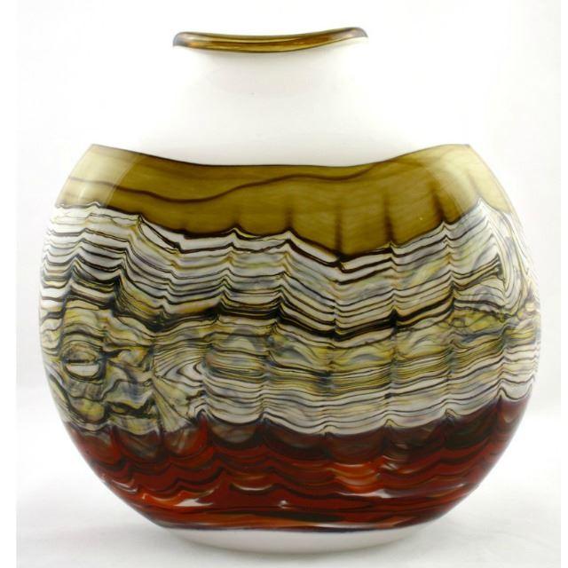 Picture of Blown Glass Flatten Vase | White Opal