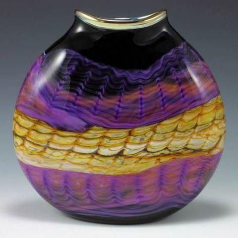 Blown Glass Flatten Vase | Amethyst Opal