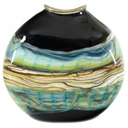 Blown Glass Flatten Vase | Black Opal