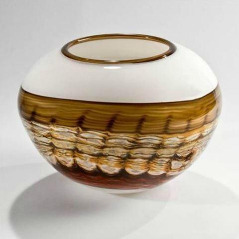 Blown Glass Vase   White Opal Sphere