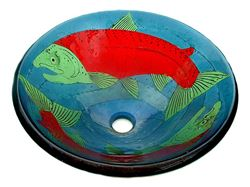 Sockeye Salmon Glass Vessel Sink