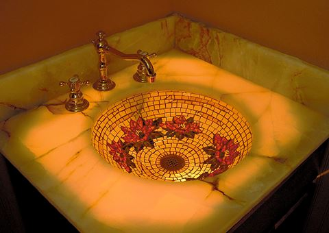 Golden Water Lily Glass Mosaic Sink