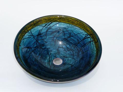 Blown Glass Sink   Deep Jade Green Nest