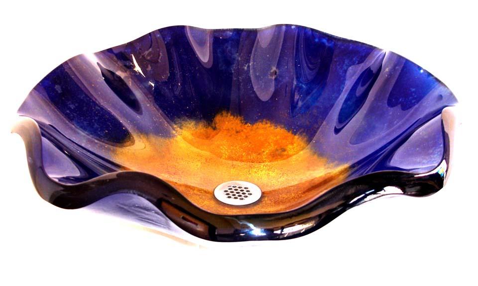 Picture of Azzuro Wavy Edge Glass Vessel Sink