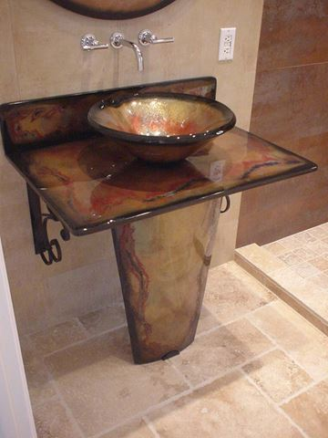 Tuscan Fire Vignette Bathroom Pedestal