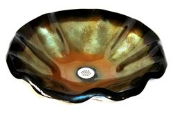 Vaso Verde Wavy Edge Glass Vessel Sink