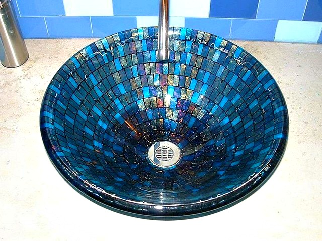 Picture of Grey Blue Mosaic Vessel Sink
