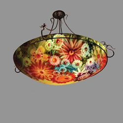 Rose Garden Reverse Hand-Painted Glass Chandelier