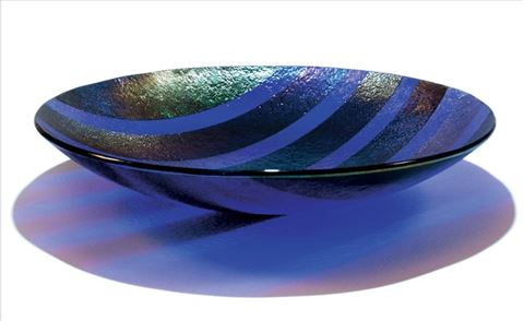 Large Blue/Cobalt Line Bowl