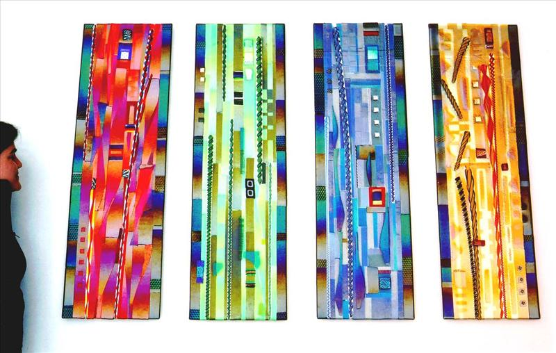 Picture of Glass Panel Hanging Wall Sculpture