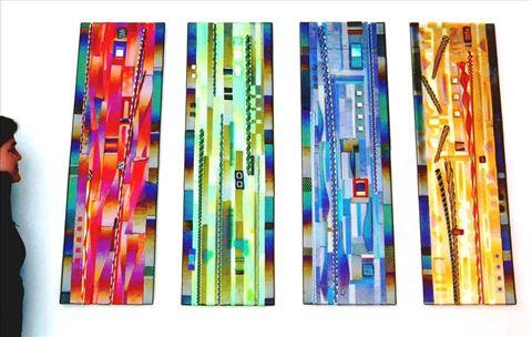 Glass Panel Hanging Wall Sculpture