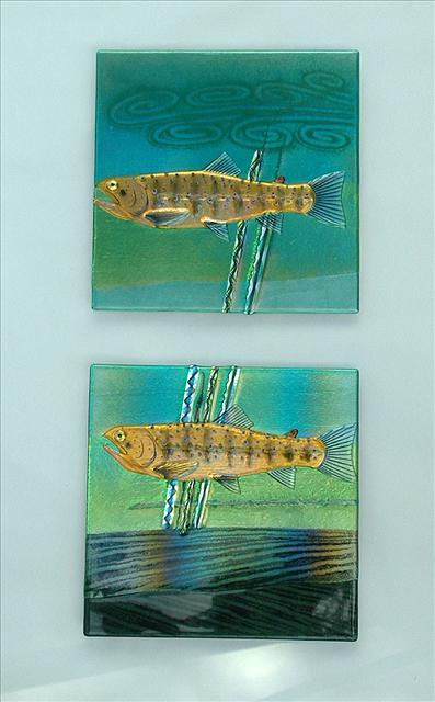 Picture of Brown Trout Fused Glass Panels