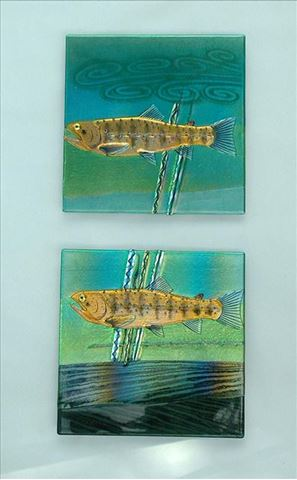 Brown Trout Fused Glass Panels