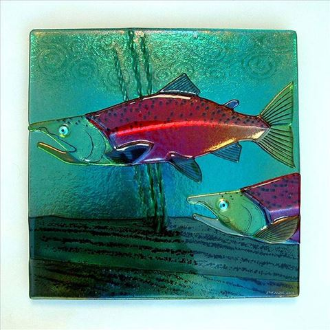 Sockeye Salmon Glass Wall Panel