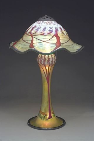 Magnum Gold Cherry Blossom Table Lamp With Ruffled Shade