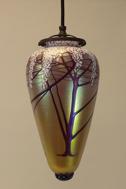 Picture of Pendant Light | Gold Cherry Blossom Amphora