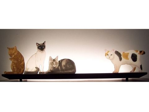 Mere Cats Glasscape Lighting Sculpture
