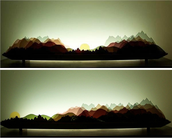 Picture of Alpine Glasscape Lighting Sculpture