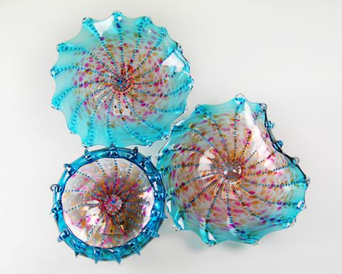 Aquatic Blue Green Lustre Blown Glass Platters Wall Sculpture
