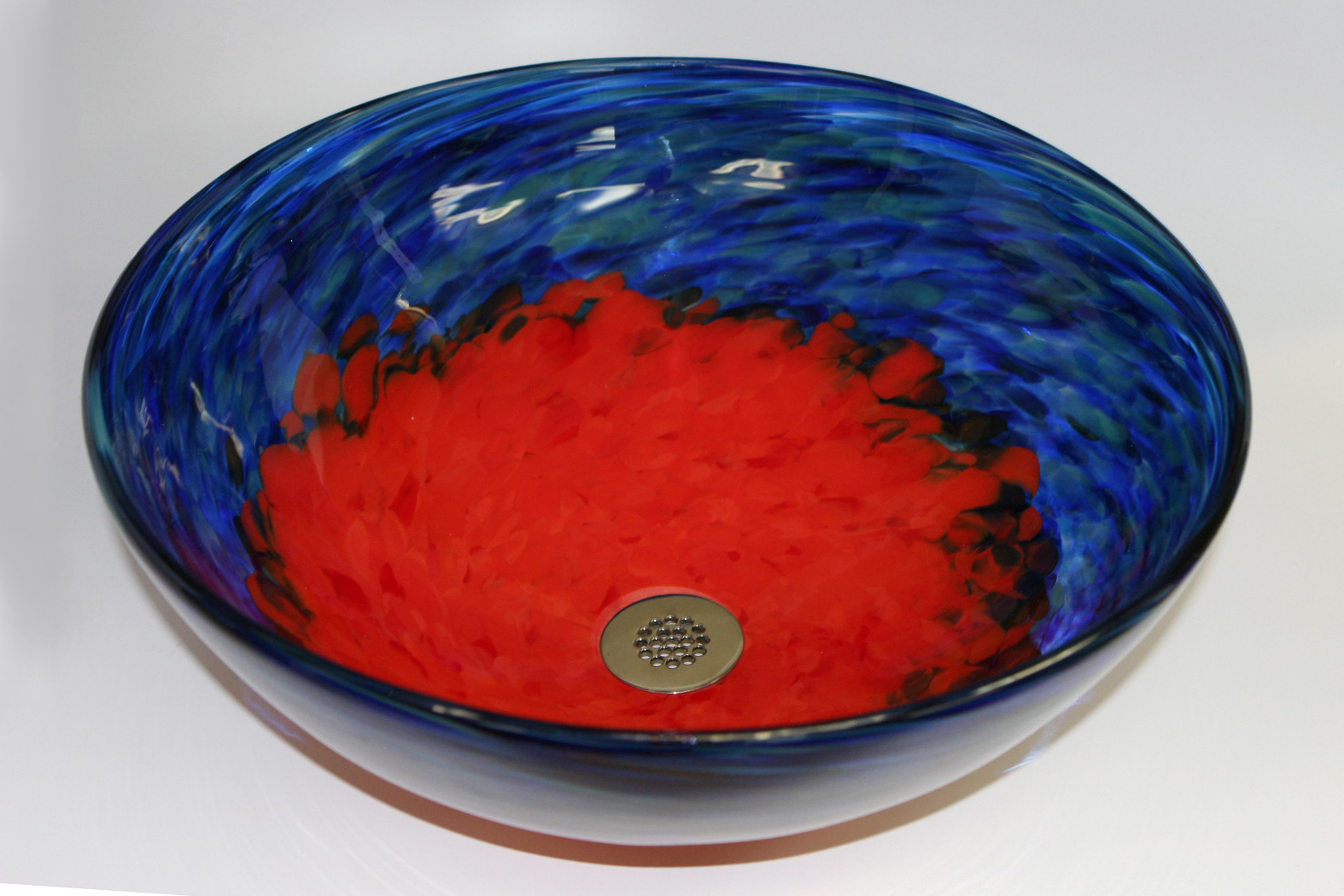 Picture of Blue Caliente Hand-blown Glass Vessel Sink