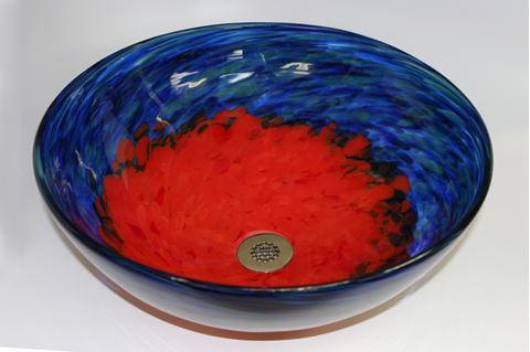 Blue Caliente Hand-blown Glass Vessel Sink