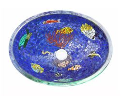 Tropical Paradise Mosaic Glass Sink