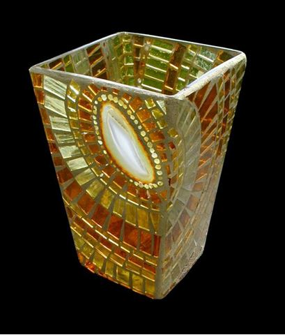 Agate and Glass Slice Handcrafted Mosaic Vase