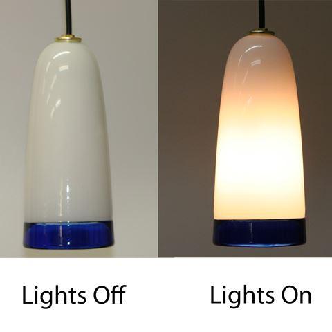 Blown Glass Pendant Light | White Cobalt