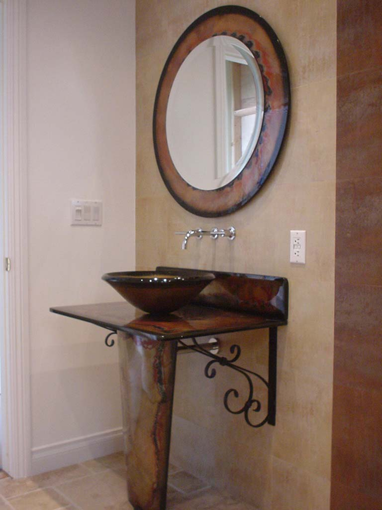 Picture of Tuscan Fire Vignette Bathroom Pedestal