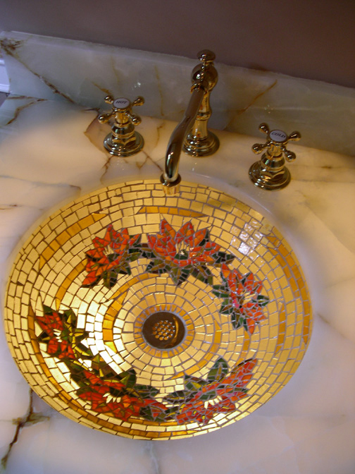 Picture of Golden Water Lily Glass Mosaic Sink