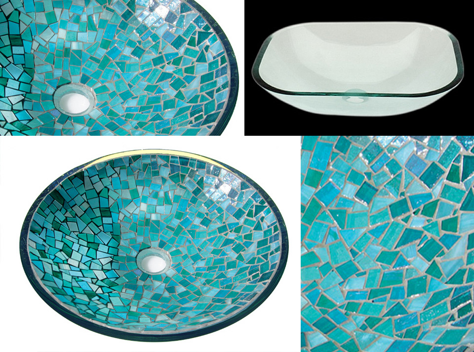 Picture of Indigo Crystals Glass Mosaic Sink