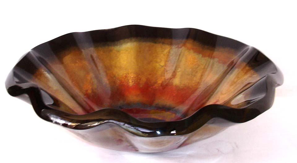 Picture of Tuscan Fire II Wavy Edge Glass Vessel Sink