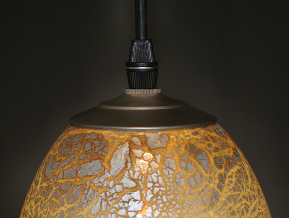 Picture of Blown Glass Pendant Light | Silver Leaf