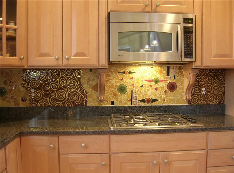 Picture of Klimt Glass Tiled Backsplash
