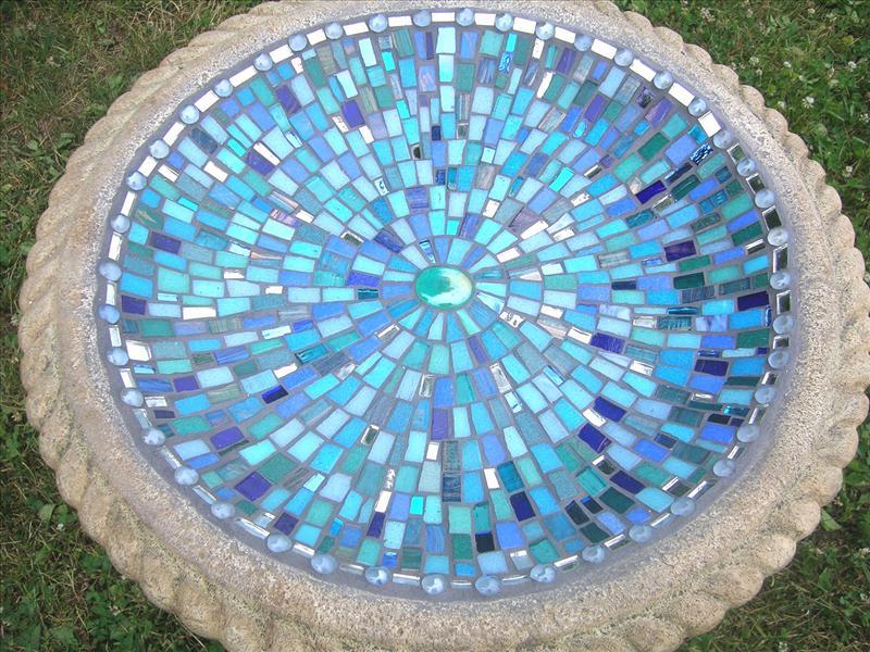 Picture of Alhambra Sky Handcrafted Mosaic Birdbath